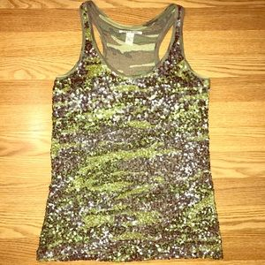 Sequin Camouflage Military Chic Tank Top Small